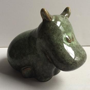 Modern green glaze ceramic hippo figurine - Animals