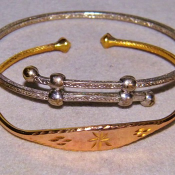 Antique Victorian/ Georgian Etched 18k Sterling Silver Baby Bangle Bracelets Cuff  - Fine Jewelry