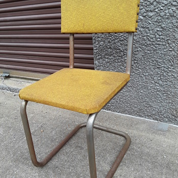 old chrome/yellow vinyl dinette chair(s) - Furniture
