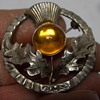 """Scottish Celtic thistle brooch pin with pronged amber colored stone """" Mizpah """" Circa 1950-60"""