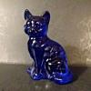 Fenton #5165 cobalt sitting cat, circa 1980s