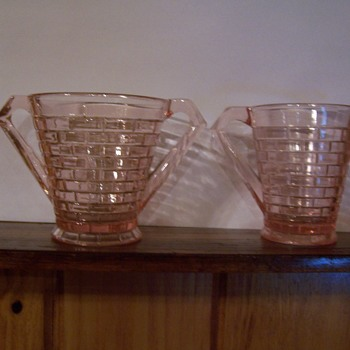 unknown pink depression glass brick pattern - Glassware