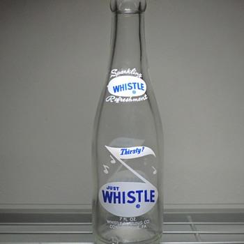 1965 Whistle Soda Bottle Connellsville Pennsylvania 7 Ounces ACL Clear Glenshaw Glass Vintage - Bottles