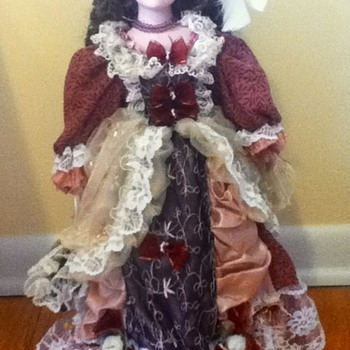 Brunette Duck House Porcelain Doll - Dolls