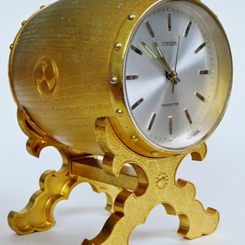 Citizen Barrel Clock~Japanese Crest on Side~Sits on Stand, Very Heavy & Handsome - Clocks