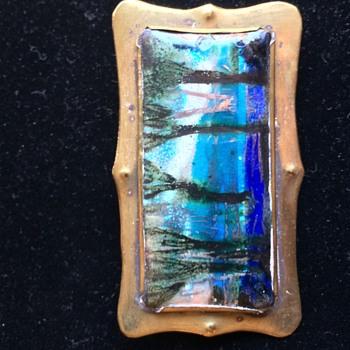 Arts and Crafts Signed Morris Enamel Landscape Brass Brooch  - Arts and Crafts