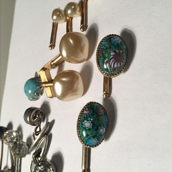 Vintage Cuff links hand painted stone I believe & more - Accessories