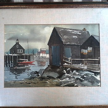 "James Philip Feriola (1928-1997) Watercolor on Paper ""Fishing Cove"" 30""x 24"" Framed/Circa 1950-60 - Fine Art"