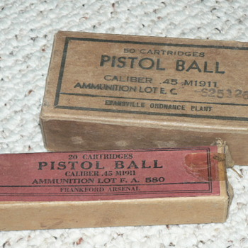 PISTOL BALL 45 CALIBER ammo from 1944 - Military and Wartime
