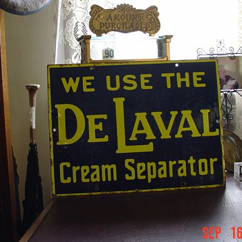 DeLaval...We Use The Cream Separator... Porcelain Sign...Two Colors...Early 1900's - Signs