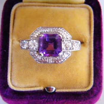 Antique Art Deco Amethyst OMC Diamond Etched Palladium Ring  - Fine Jewelry