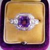 Antique Art Deco Amethyst OMC Diamond Etched Palladium Ring