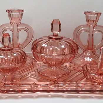 Mystery Pink Glass Dressing Table Set - Glassware
