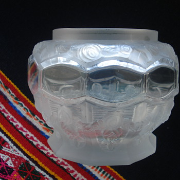 An Art Deco Rose Bowl of satin and clear glass