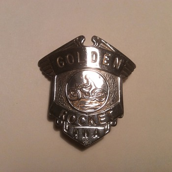 Mystery Motorcycle Badge  Golden Rocket - Medals Pins and Badges