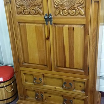 I just purchased this Beauty at a thrift store..bed armoire and nightstand..searched the whole net only 1 other piece found - Furniture