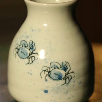 Japanese Creamer? Midcentury? Little blue sand crabs! - Pottery