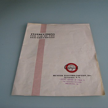 Photosensitive paper & instructions for Hunter Electro-Copyist