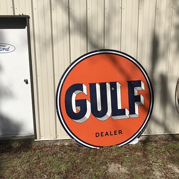 1954 ( 6 foot ) GULF Dealer Sign. - Petroliana