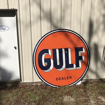 1954 ( 6 foot ) GULF Dealer Sign. - Petroliana