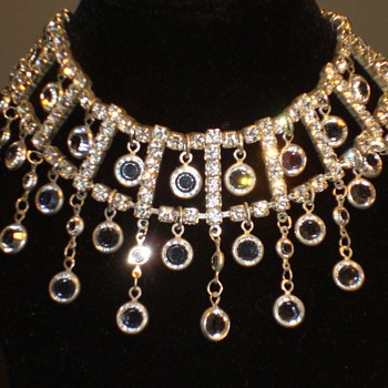 Rhinestone and Bezel set Crystal Swarovsky Festoon Necklace - Costume Jewelry