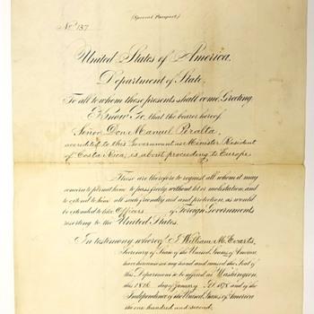 1878 Special U.S. Passport  - Paper