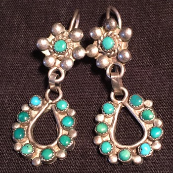 Old vintage Sterling silver turquoise dangle earrings Navajo Zuni style