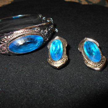 Whiting and Davis cuff bracelet and clip earrings - Costume Jewelry