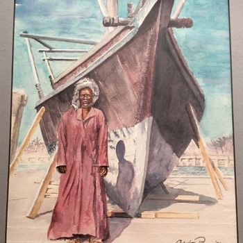 19c Watercolour Painting Arab Fisherman Boat Signed Charles Payne 96 - Fine Art