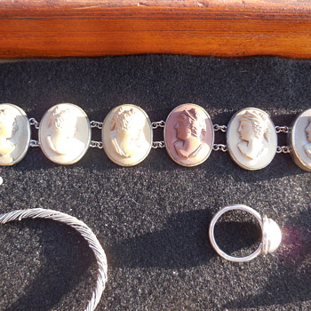 Lava Cameo and Silver Metal Bracelet :^D - Fine Jewelry