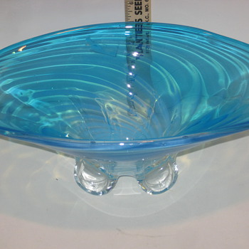 large blue bowl vase - Art Glass