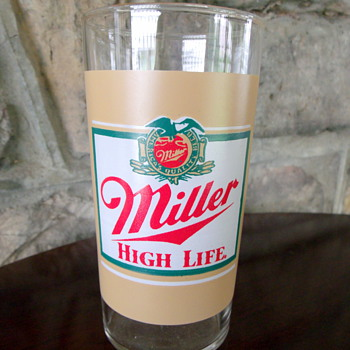 Mid-1980's Miller High Life Carnival prize type glass cup.
