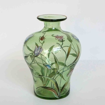 Fritz Heckert Enameled Vase with Flowers and a Beetle, c.1900 - Art Glass