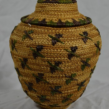 Alaskan Bird Basket with Lid - Native American