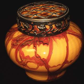 "KRALIK CZECH ART DECO FURNACE DECORATED VASE W/FLOWER FROG,""circa. 1930s - Art Glass"