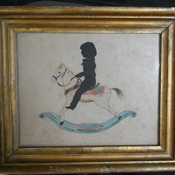 rocking horse drawing with a child silhouette - Fine Art
