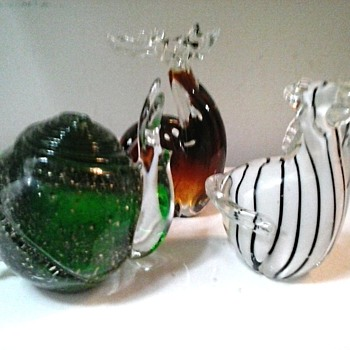 Glass Menegerie / Three Animal Paperweights / Unknown Maker and Age - Art Glass