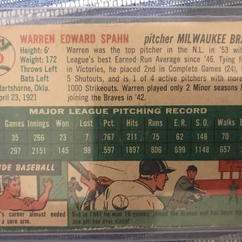 1954 topps Warren Spahn- White or Gray back? - Baseball