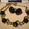 Coro Dark Green Moonglow Glass Cabachon Necklace ca 1960