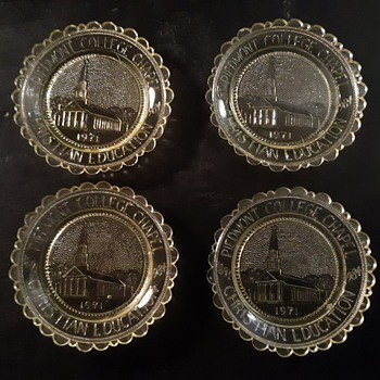 Pairpoint Glass Company Vaseline Glass Coasters Piedmont College Chapel 1984 - Glassware