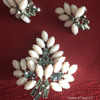 Sherman Brooch & Earring Set, Pink Milk Glass Plus