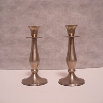 Beautiful pair of Pewter candlestick holders
