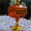 Fenton Amberina Cabbage Rose Candy Dish