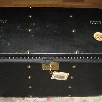 Antique European Made Patent Leather Trunk - Furniture