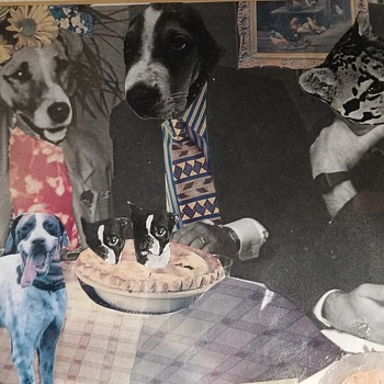 """Mixed Media Art """"WOULD YOU CARE TO JOIN US IN A HOMEMADE PIE?"""" by Cathy Chisholm - Animals"""