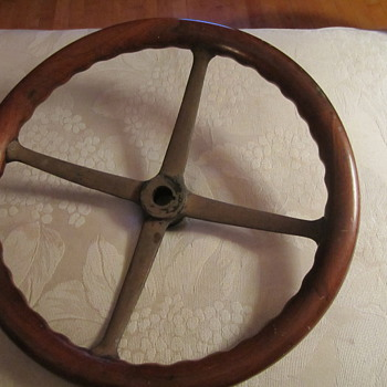 Early Wood Steering Wheel...Car ?? Train ?? Other - Classic Cars