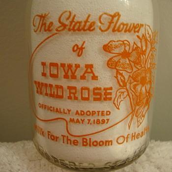 """PETERSON'S MILK...STATE FLOWER OF IOWA """"WILD ROSE"""" MILK BOTTLE - Bottles"""