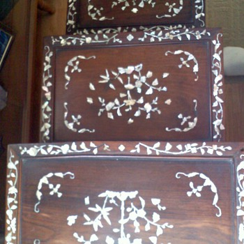 Set of 3 stack tables with TONS of Mother of Pearl Inlay - Furniture