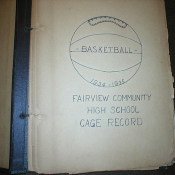 OLD BASKETBALL SCRAP BOOK CAGE RECORDS 1934-1935 FAIRVIEW ILLINOIS