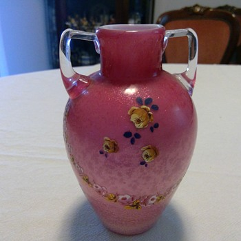 Victorian Spangled / Mica flecked Two handle Vase or Urn - Victorian Era